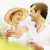 couple enjoying wine